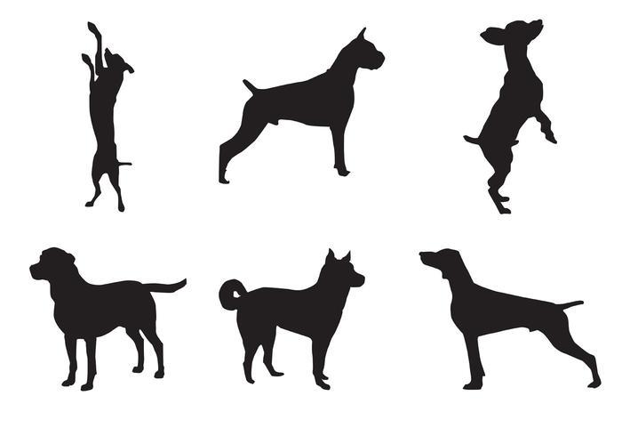 Vecteurs de silhouette de chien vecteur