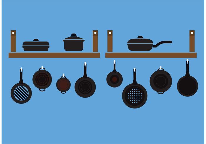 Ensemble de vaisselle avec poignée vecteur