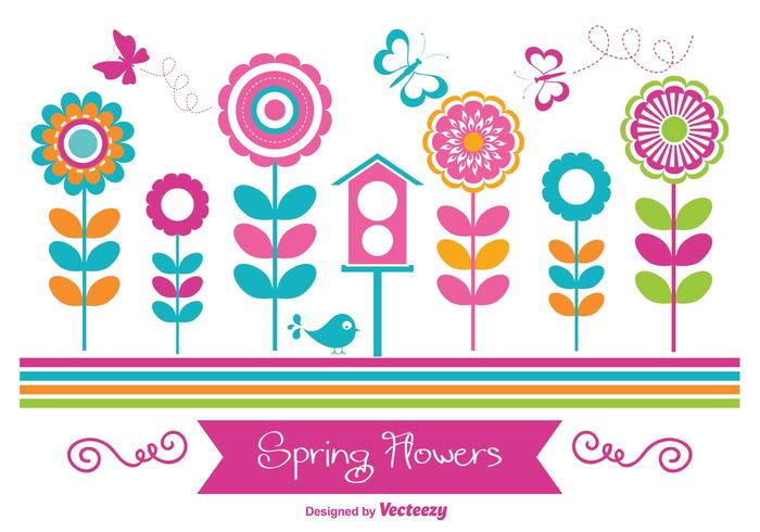 Fleurs de printemps colorées vecteur