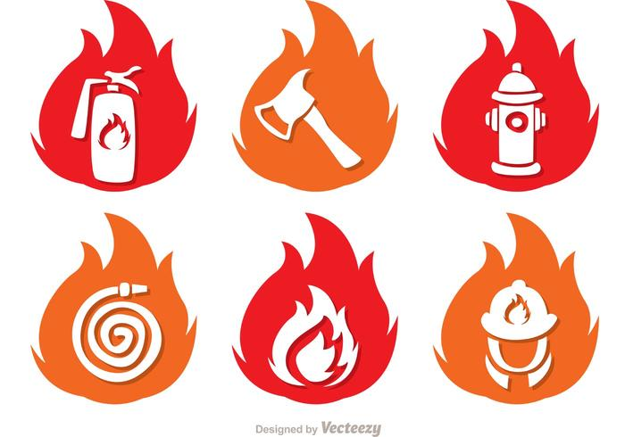 Icônes de flamme pack vecteur pompier