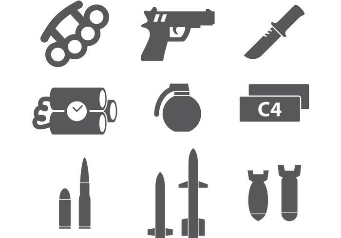 Icônes militaires vecteur
