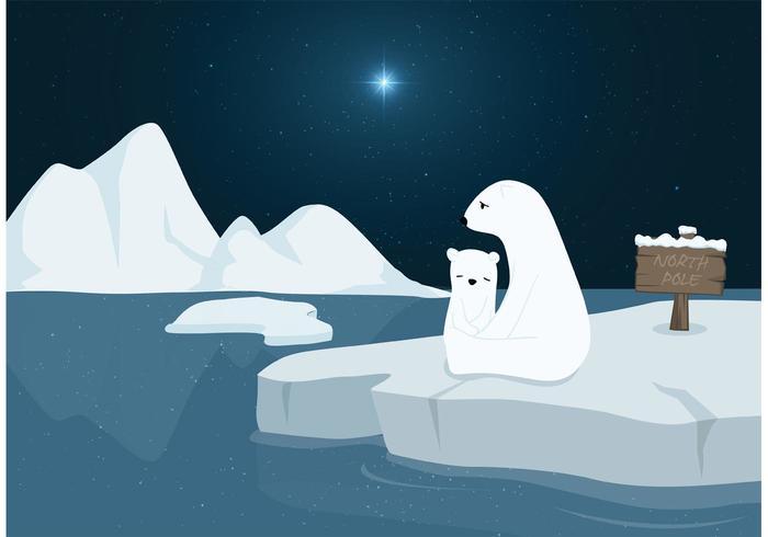 Ours polaires libres dans le vecteur du pôle nord