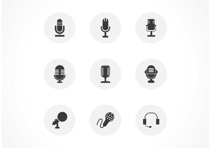 Ensemble d'icônes de vecteur noir gratuit pour microphones