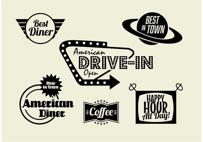 Ensemble de diner, de café et de restauration rapide des années 50 vecteur