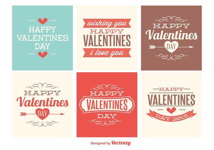 Jolies mini cartes de jour de valentines vecteur