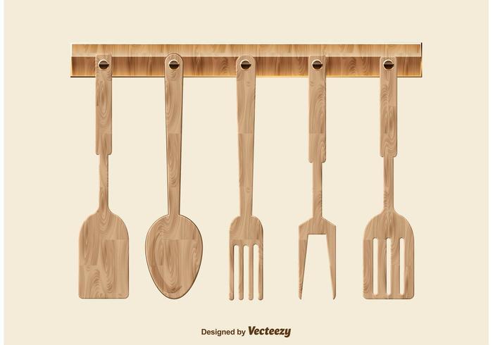 Ustensiles de cuisine en bois vecteur