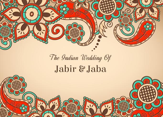 Carte de mariage indienne colorée de vecteur libre