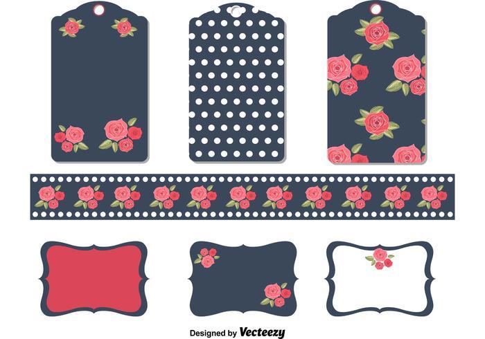 Vecteurs d'étiquettes de fleur vintage vecteur