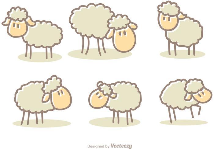 Vecteurs de moutons de dessins animés vecteur
