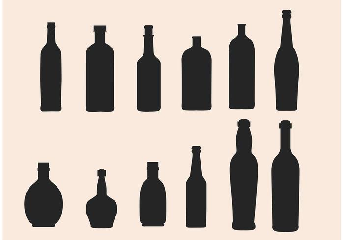 Vecteurs de silhouette de bouteille en verre vecteur