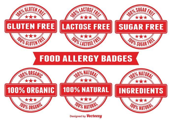 Badges d'allergie alimentaire vecteur