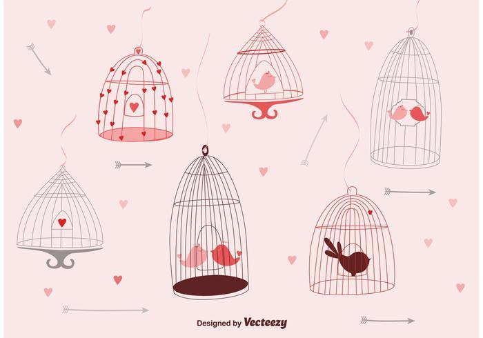Jolies cages d'oiseaux vecteur