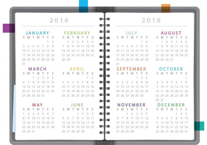 Carnet de calendrier 2016 vecteur