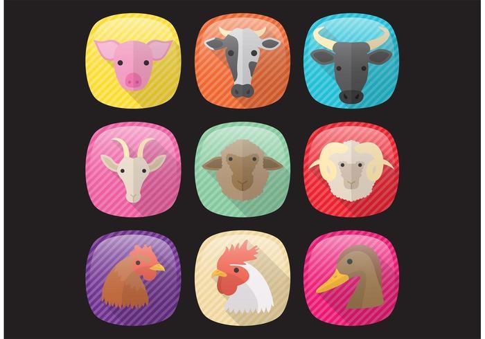 Icônes des animaux de ferme vecteur
