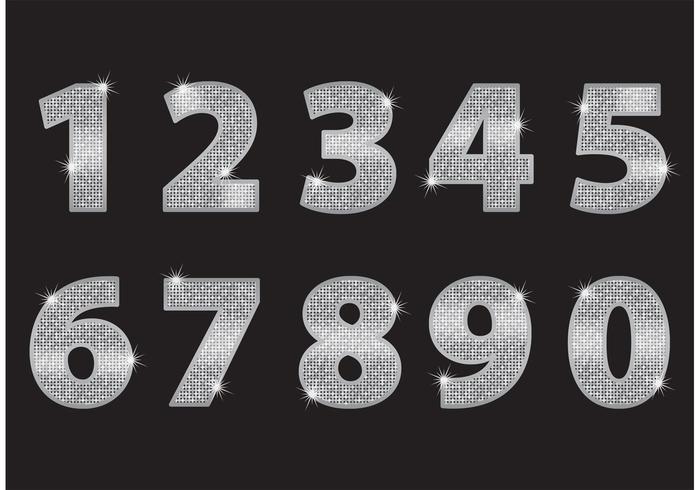 Numéros de Glitter en argent vecteur