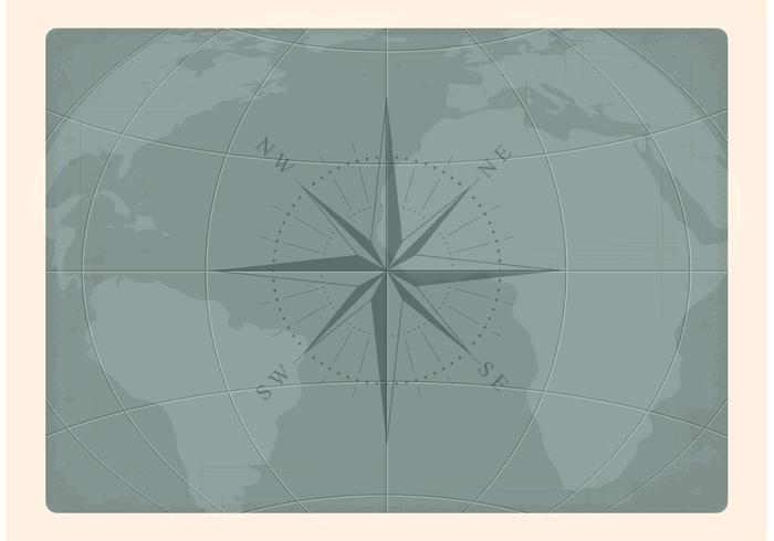 Carte vectorielle de la vieille carte nautique gratuite vecteur