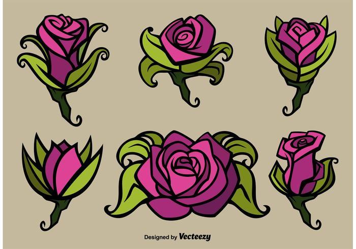 Illustrations de fleurs de fleurs roses vecteur