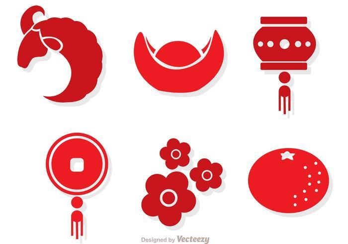 Vecteurs lunaires rouges du nouvel an chinois vecteur