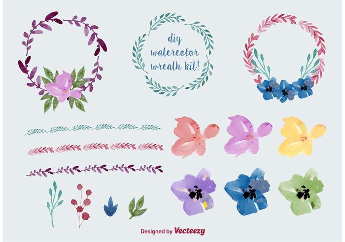Vecteurs de couronnes à fleurs d'aquarelle vecteur
