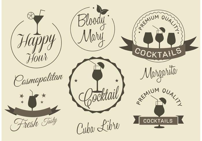 Etiquettes gratuites de cocktail de vecteur