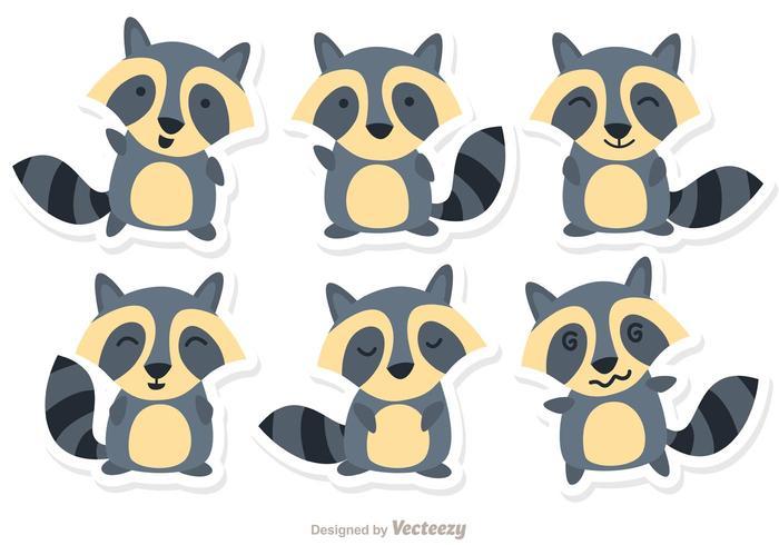 Cartoon raccoon set vector