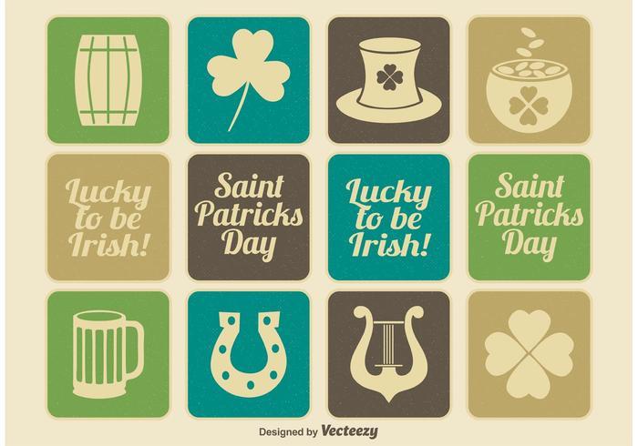 Ensemble d'icônes Vintage Saint Patrick's Day vecteur