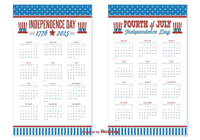Calendriers 2015/2016 de la Fête de l'Indépendance vecteur