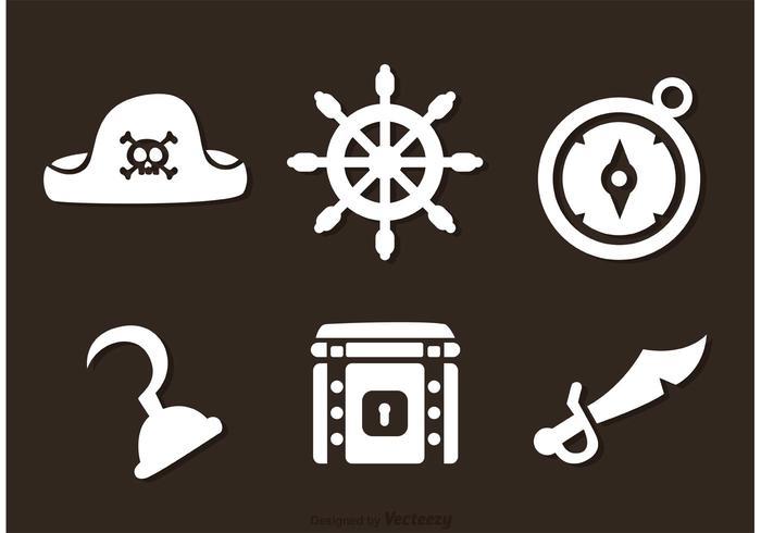 Pirate White Icons Vecteurs vecteur