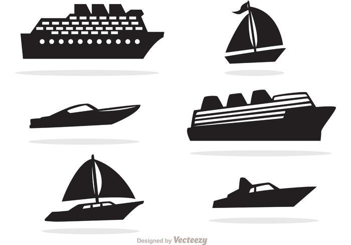 Vector d'icônes noires de bateau et de bateau