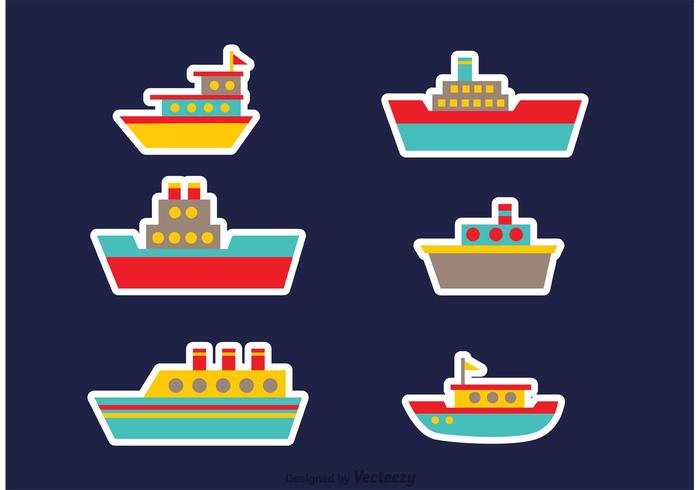 Vecteurs colorés de bateaux et de navires vecteur
