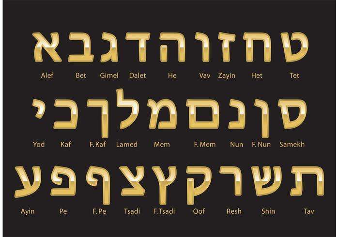 Alphabet hébreu en or vecteur