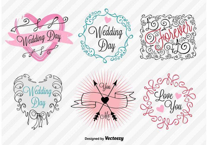 Panneaux de jour de mariage à la main vecteur
