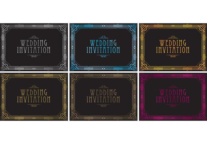 Vecteurs d'invitation de mariage des années 20 vecteur