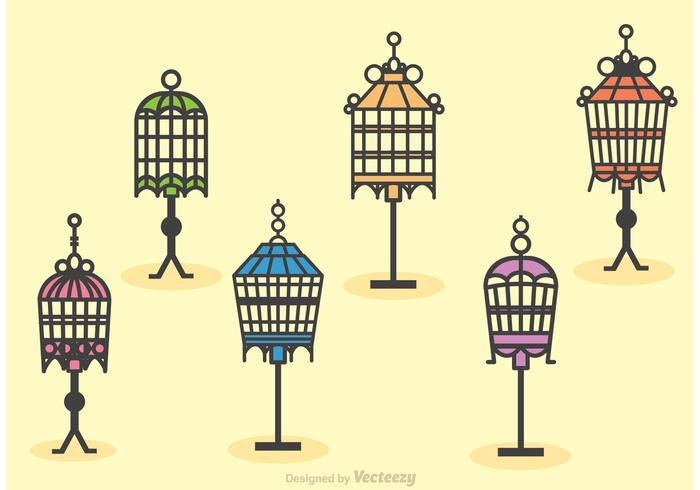 Vecteurs de poteaux de cage d'oiseaux vintage vecteur