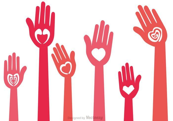 Vecteurs de main d'amour heureux vecteur