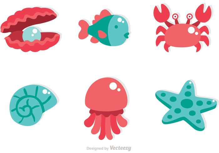 Vecteurs d'icônes Sealife vecteur