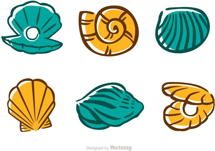 Ensemble de vecteurs de coquillage de mer vecteur