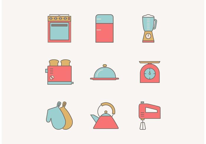 Free Flat Outline Vintage Utensils de cuisine Icônes vectorielles vecteur