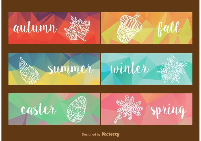 Étiquettes géométriques saisonnières vecteur