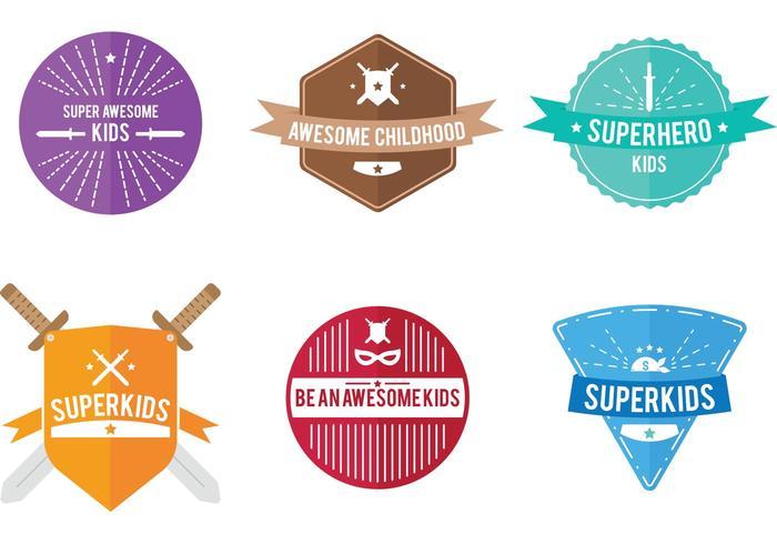 Badges vectoriels superkids vecteur