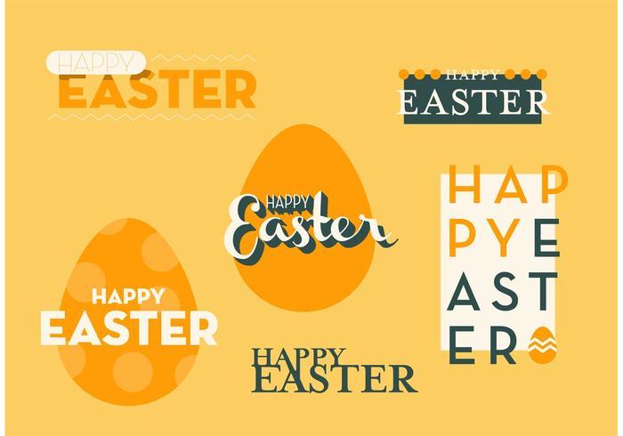 Ensemble de graphiques vectoriels heureux de Pâques vecteur