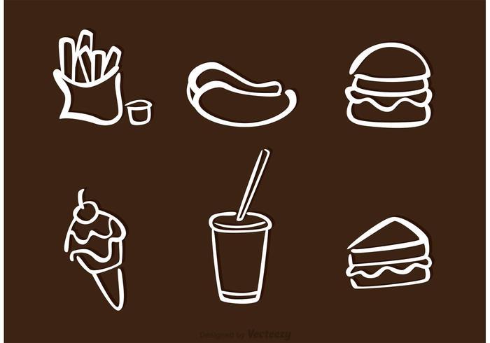 Vecteurs d'icônes de contour de nourriture blanche vecteur