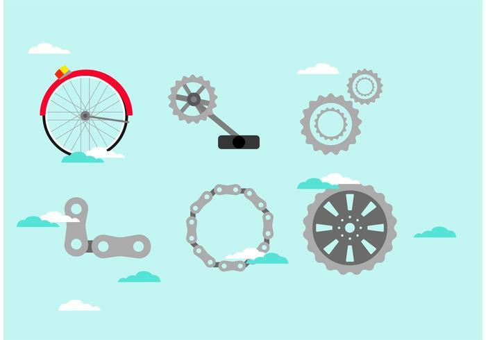 Pièces de vélo à vecteur dans le ciel