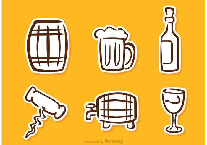 Whisky Sticker Icons Vector