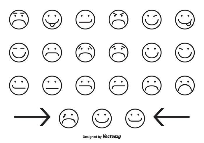 Icônes variées de visage souriant vecteur