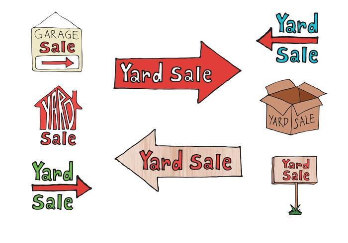 Série de dessins gratuits de vente de cour vecteur
