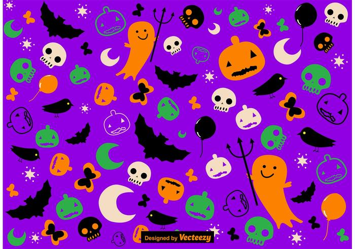 Mignon dessiné dessin animé vecteur halloween