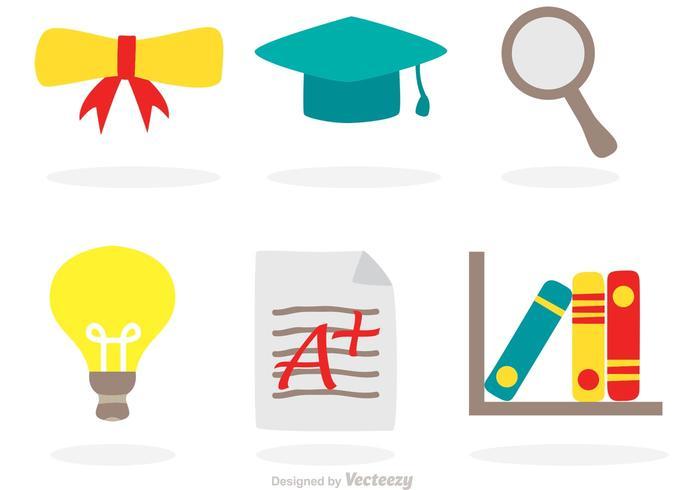 Icônes plates d'illustrations d'étude vecteur