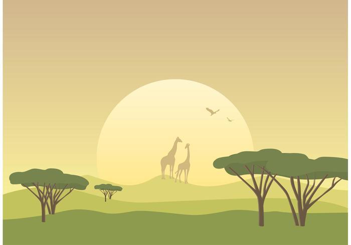 Vecteur libre de paysage de savane africaine