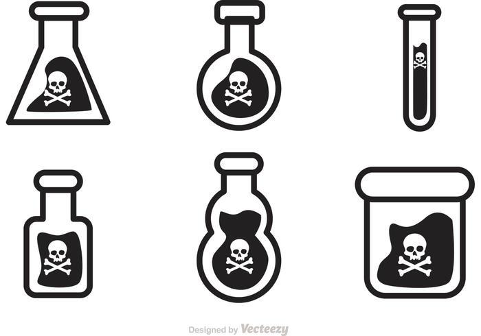 Icônes noires vecteur poison